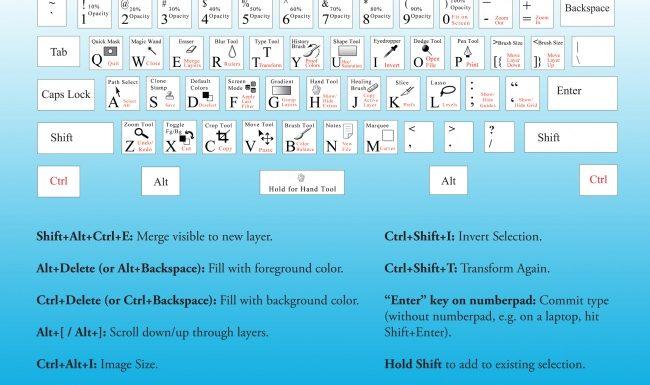 Photoshop Keyboard Shortcut — шпаргалка по клавиатурным сокращениям