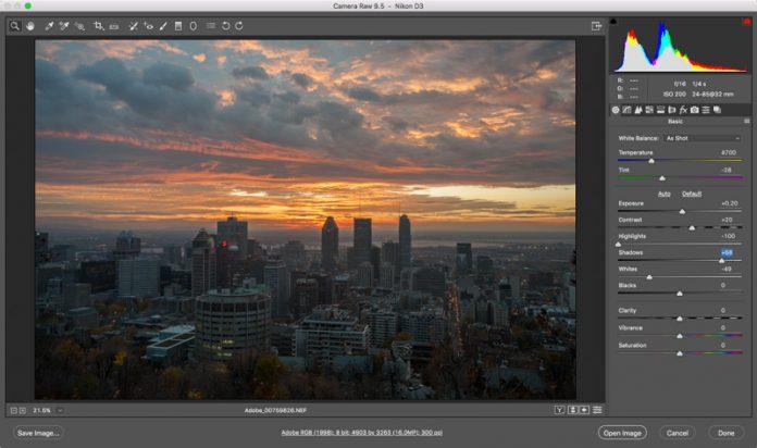 Adobe Camera Raw 9.5 получила новый интерфейс